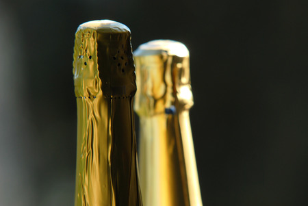 sparkling wine: bottles of sparkling wine on the outdoor garden Stock Photo