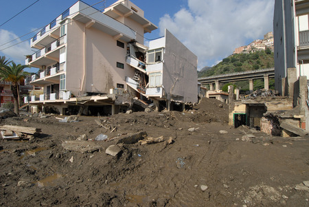 landslide: city hit by a landslide and a flood Stock Photo