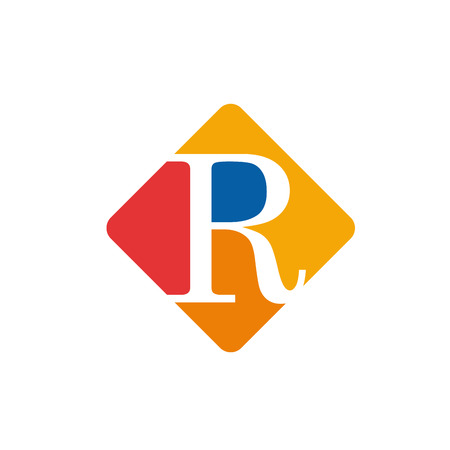 initial: Vector color sign initial letter R Illustration