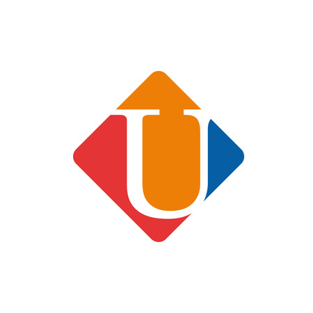 initial: Vector color sign initial letter U