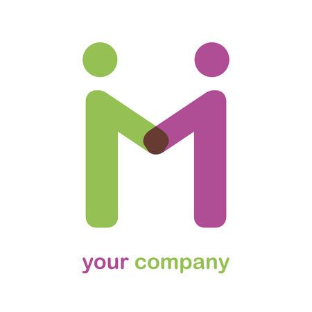 Vector Zeichen Buchstaben M, Freundschaft Standard-Bild - 42013389