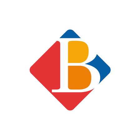 initial: Vector color sign initial letter B