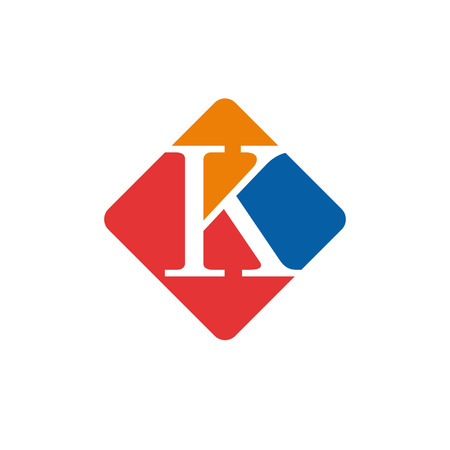 initial: Vector color sign initial letter K