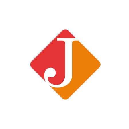 initial: Vector color sign initial letter J