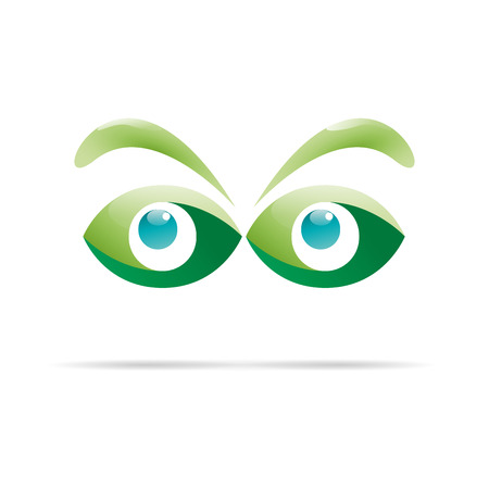 green eyes: Vector sign green eyes, curious glance Illustration