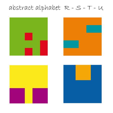 u  s  a: Vector color logo initial letter R, S, T, U Illustration