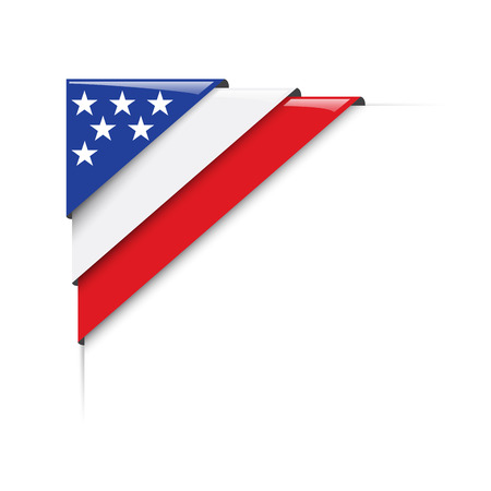 corner flag: American corner. Vector label with flag Illustration