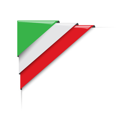 Italian corner. Vector label with flag