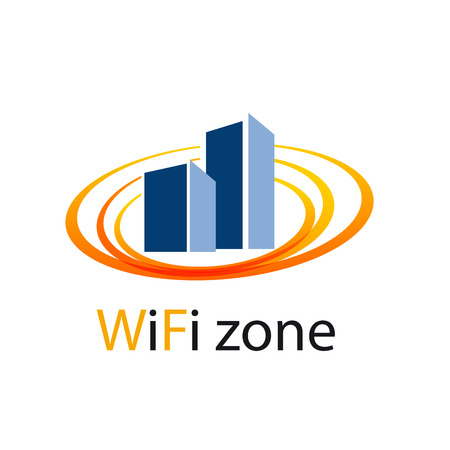 residential zone: Vector sign WiFi Zone in the city