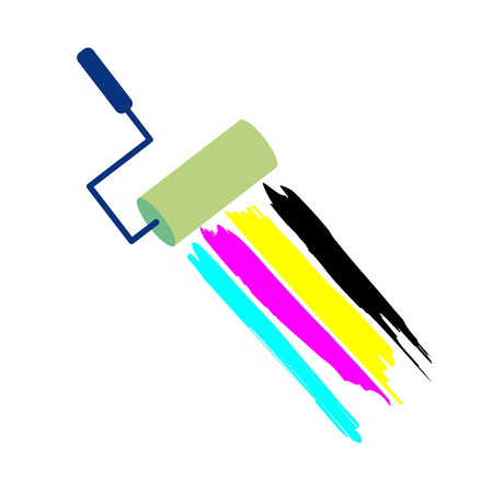 offset printer: Vector sign CMYK, brush with paint