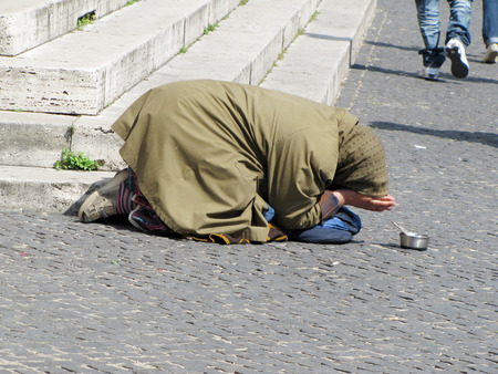 excluded: Beggar on the street Stock Photo
