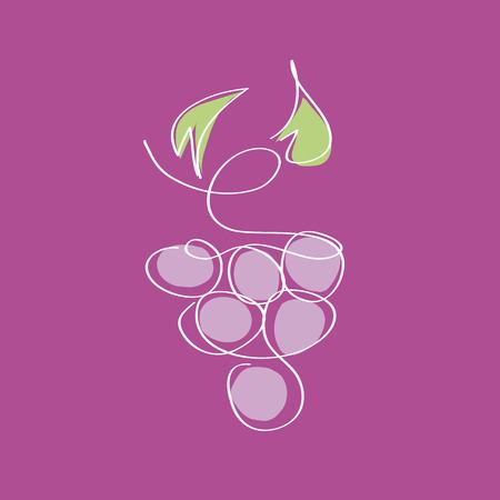 biological vineyard: Vector sign Wine, bunch of grapes Illustration