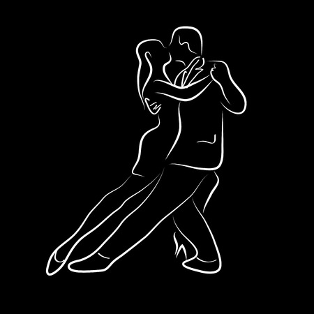black people dancing: Vector illustration waltz and tango ballet