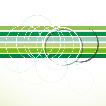 Vector abstract green background. Circles and strips