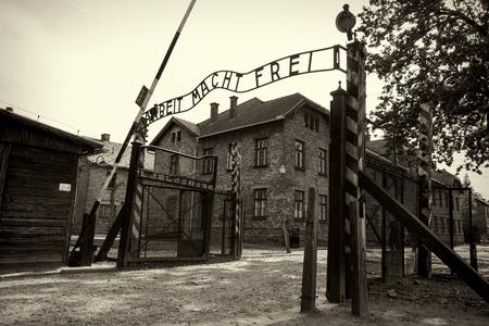 auschwitz memorial: Arbeit macht frei sign in concentration camp Auschwitz Editorial