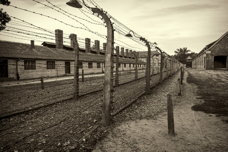 death camp: Electric fence in Nazi concentration camp Auschwitz I, Poland Editorial