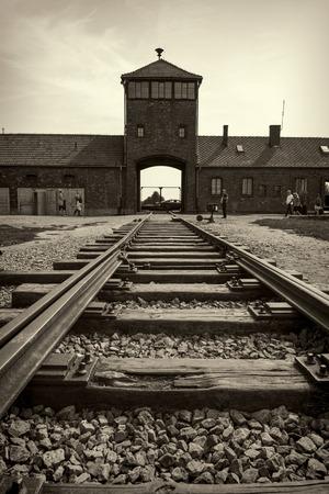 birkenau: Main gate and railroad to nazi concentration camp of Auschwitz Birkenau Editorial