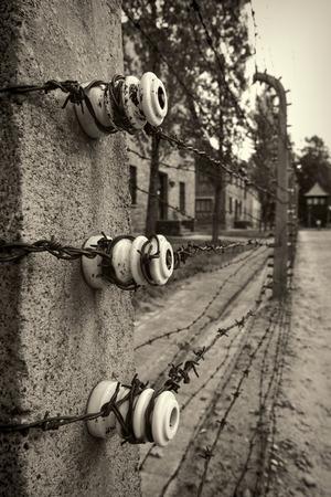 elektrischer Zaun: Electric fence in Nazi concentration camp Auschwitz I, Poland Editorial