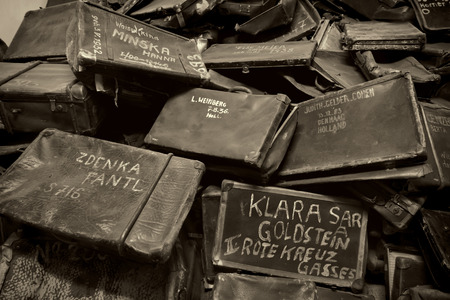 nazi: Names written on Suitcases in Auschwitz, the biggest nazi concentration camp in Europe Editorial