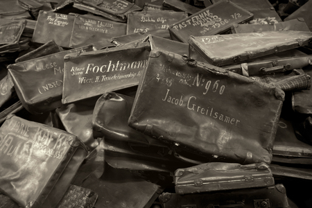 auschwitz memorial: Names written on Suitcases in Auschwitz, the biggest nazi concentration camp in Europe Editorial