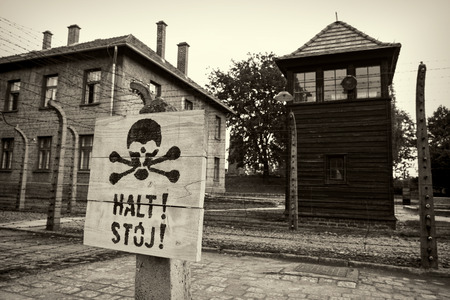 auschwitz memorial: Electric fence in Nazi concentration camp Auschwitz I, Poland Editorial