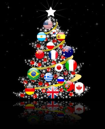 Arbre de Noël, la paix dans le monde Banque d'images - 45063509