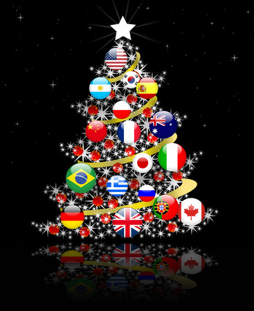 world ball: Christmas tree , peace in the world Stock Photo