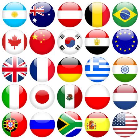 drapeau mexicain: Boutons de drapeau rondes Banque d'images