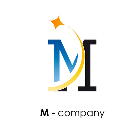 Vector sign letter M with star Illustration