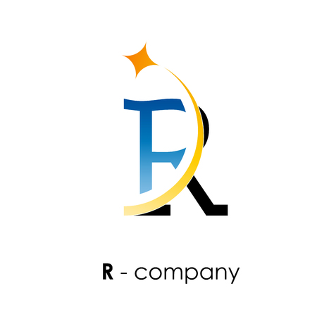 r: Vector sign letter R with star