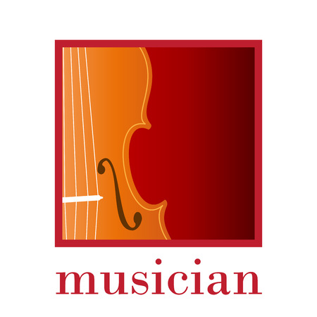classical theater: Vector sign music store. Musician