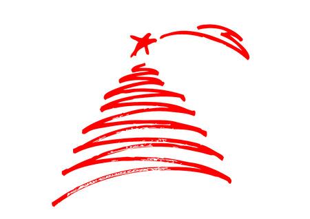 Christmas tree , freehand design Vettoriali
