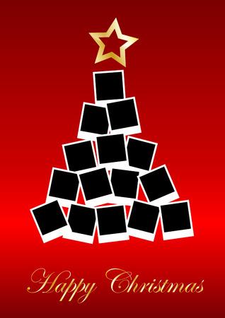 comida de navidad: �rbol de Navidad del vector con fotos