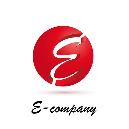 e business: Vector sign spherical initial letter E 3d