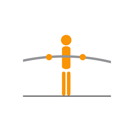 tightrope walker: Vector sign tightrope walker, balance concept