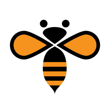 abeja reina: Vector firmar abeja Vectores