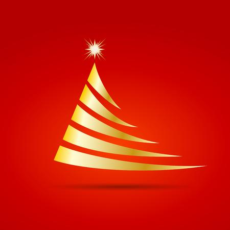 christmas postcard: Greeting of Christmas. Abstract Christmas tree Illustration