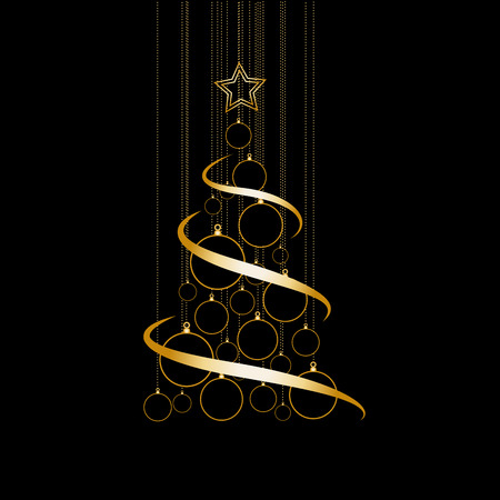 holiday backgrounds: Vector Abstract Golden Christmas Tree on black background