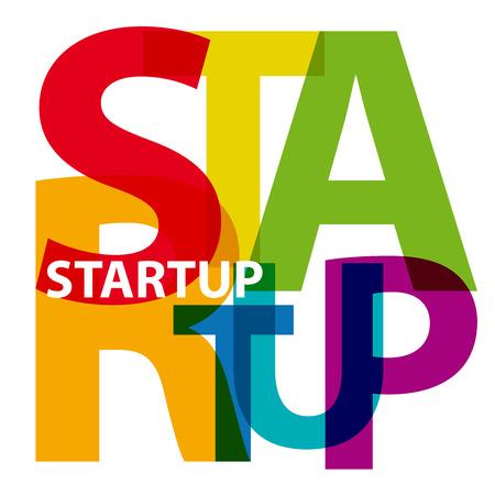 starting a business: Vector startup. Broken text Illustration