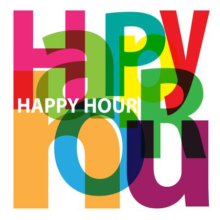 happy young: Vector Happy hour. Broken text Illustration