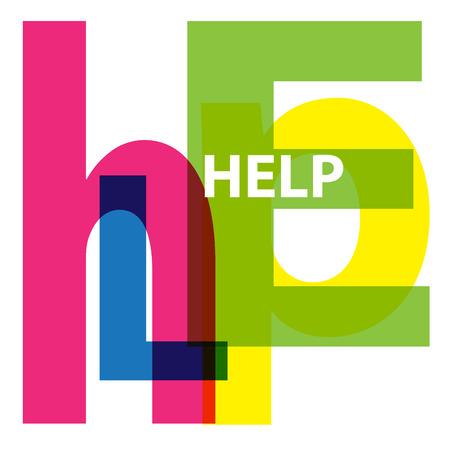 an example: Vector Help. Broken text Illustration