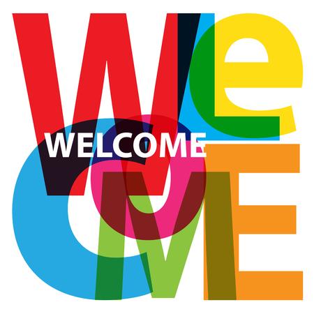 Vector Welcome. Broken text Illustration