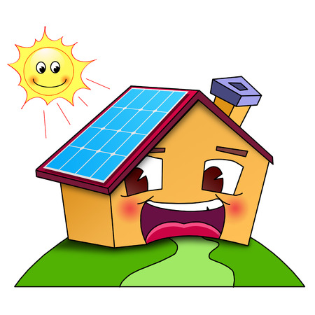 panels: Happy home with solar panels