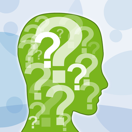 interrogativa: signo de interrogaci�n en la cabeza Foto de archivo