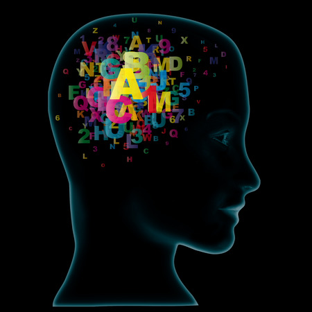 hypothesis: Head and letters. Learning Concept Stock Photo