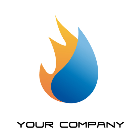 fire water: Vector sign home energy Illustration