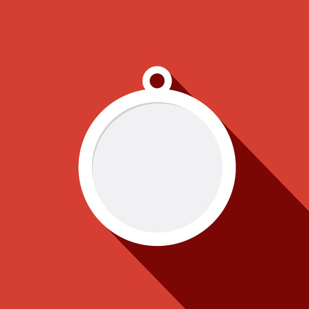 paper art projects: Red ball Christmas tree, flat design Illustration