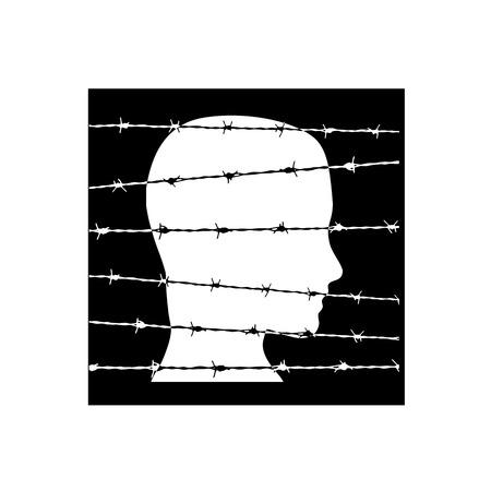 barbed wire: Vector sign prisoner behind barbed wire