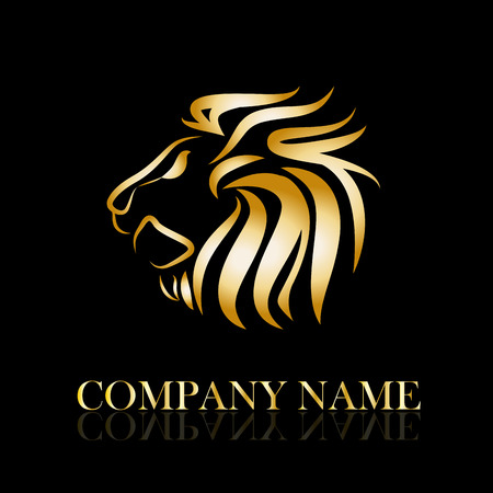 companies: Vector sign golden lion Illustration