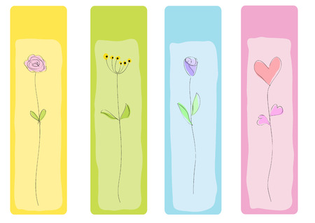 Vector drawing abstract floral bookmark